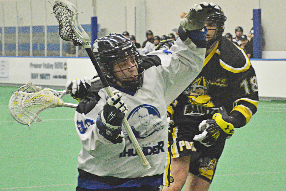 Nathan McKeigan scored four goals as the Langley Thunder defeated the the Port Coquitlam Saints 16-10 in BC Junior A Lacrosse League action on May 9 at Langley Events Centre.