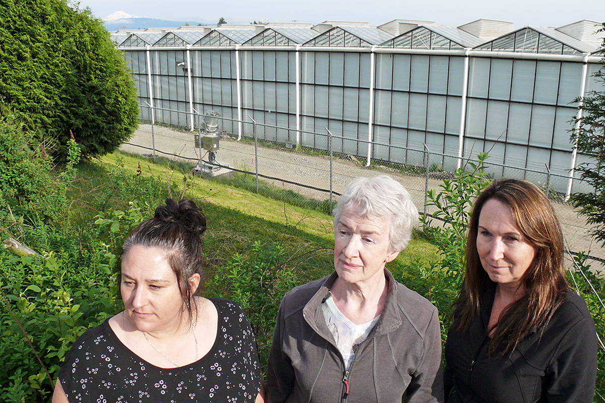 Neighbours Michelle Nicholls, Susan Hagedorn and May Leeper said they have met several times with representatives of Canopy, the operator of the large marijuana growing operation near their homes, but the odour problem remains. Dan Ferguson Langley Advance Times
