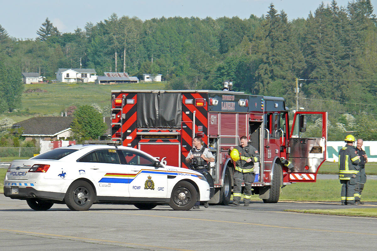 Multiple police, fire and ambulance units were called after a small plane crashed on landing at the Langley airport Saturday afternoon. Dan Ferguson Langley Advance Times