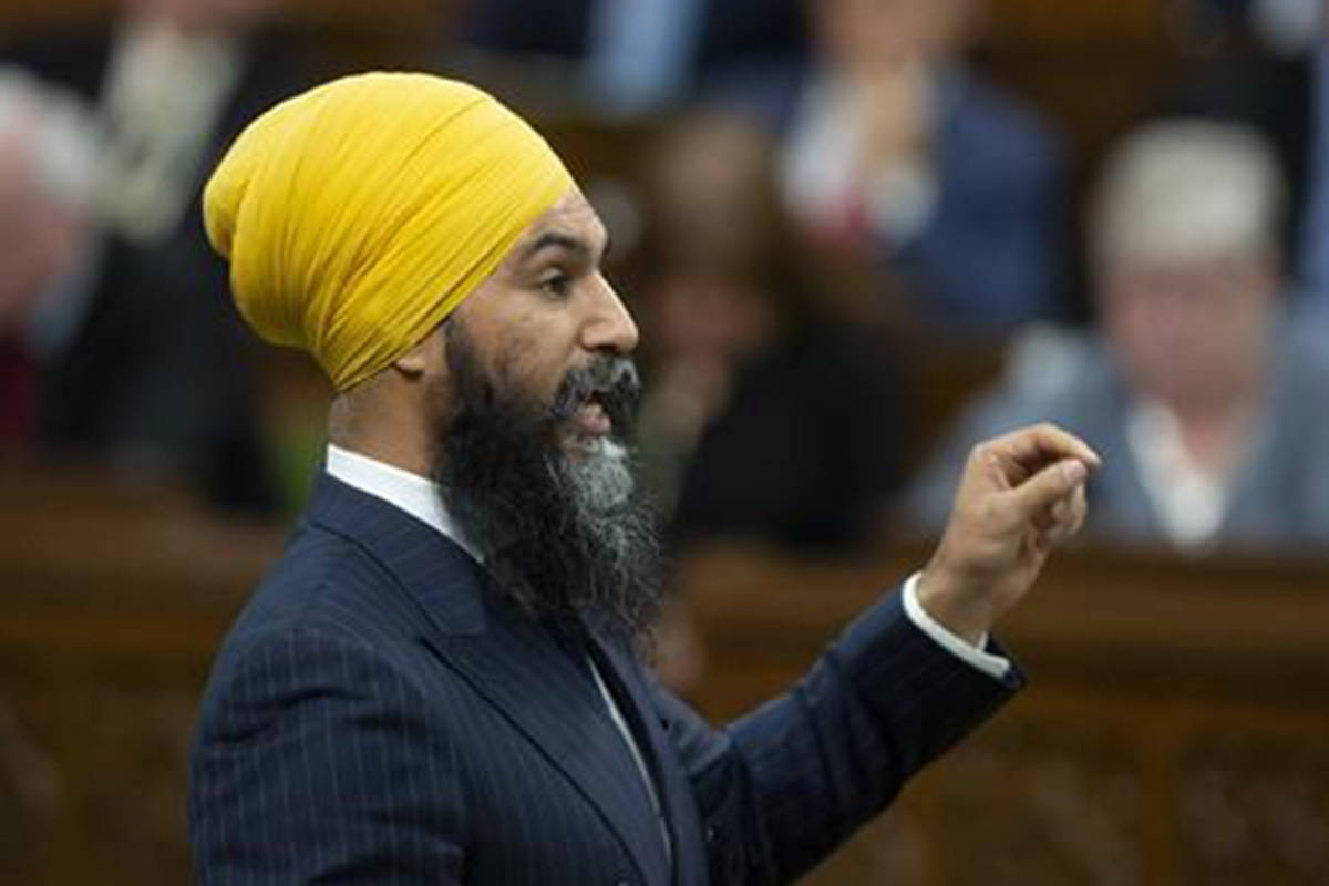 NDP leader Jagmeet Singh rises during Question Period in the House of Commons, Tuesday, May 7, 2019 in Ottawa. THE CANADIAN PRESS/Adrian Wyld