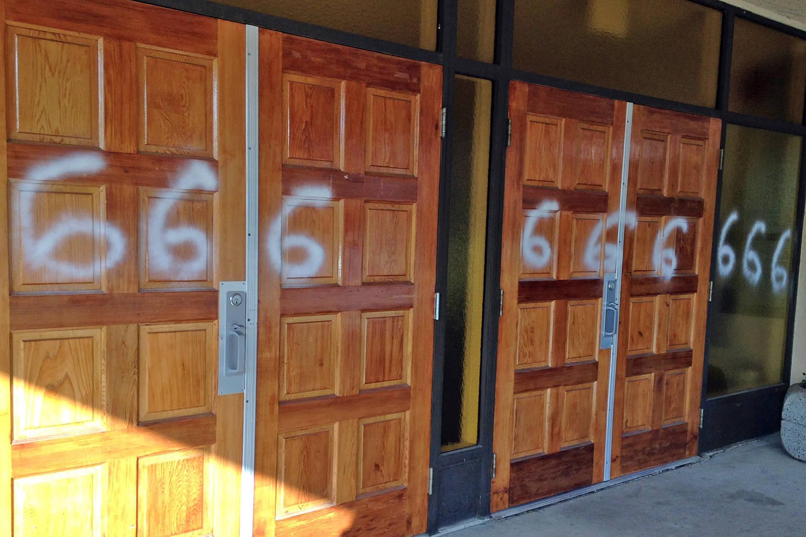 Community 'rattled' after 666 scrawled all over B.C. Catholic church