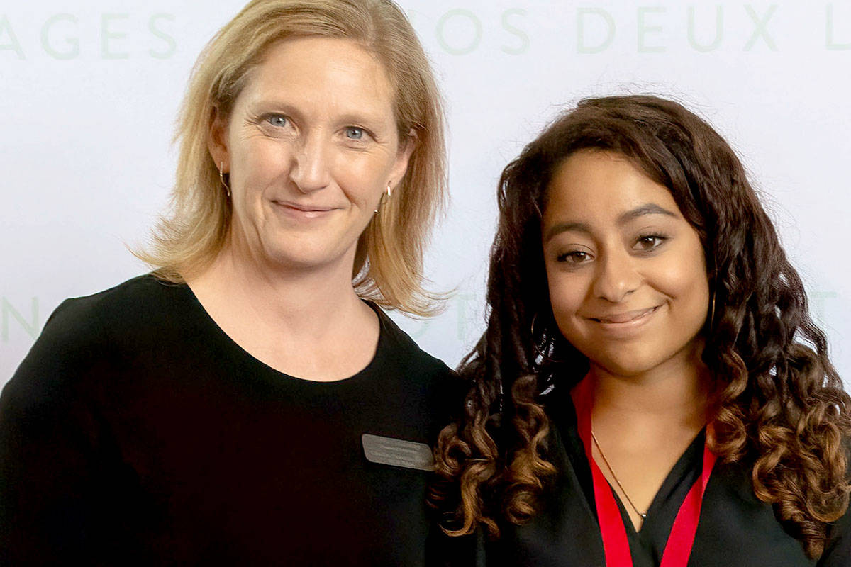 Seraphina Rizkallah of École Walnut Grove Secondary (with CPF BCYK president Greer Cummings) took second place in Grade 10 Immersion.
