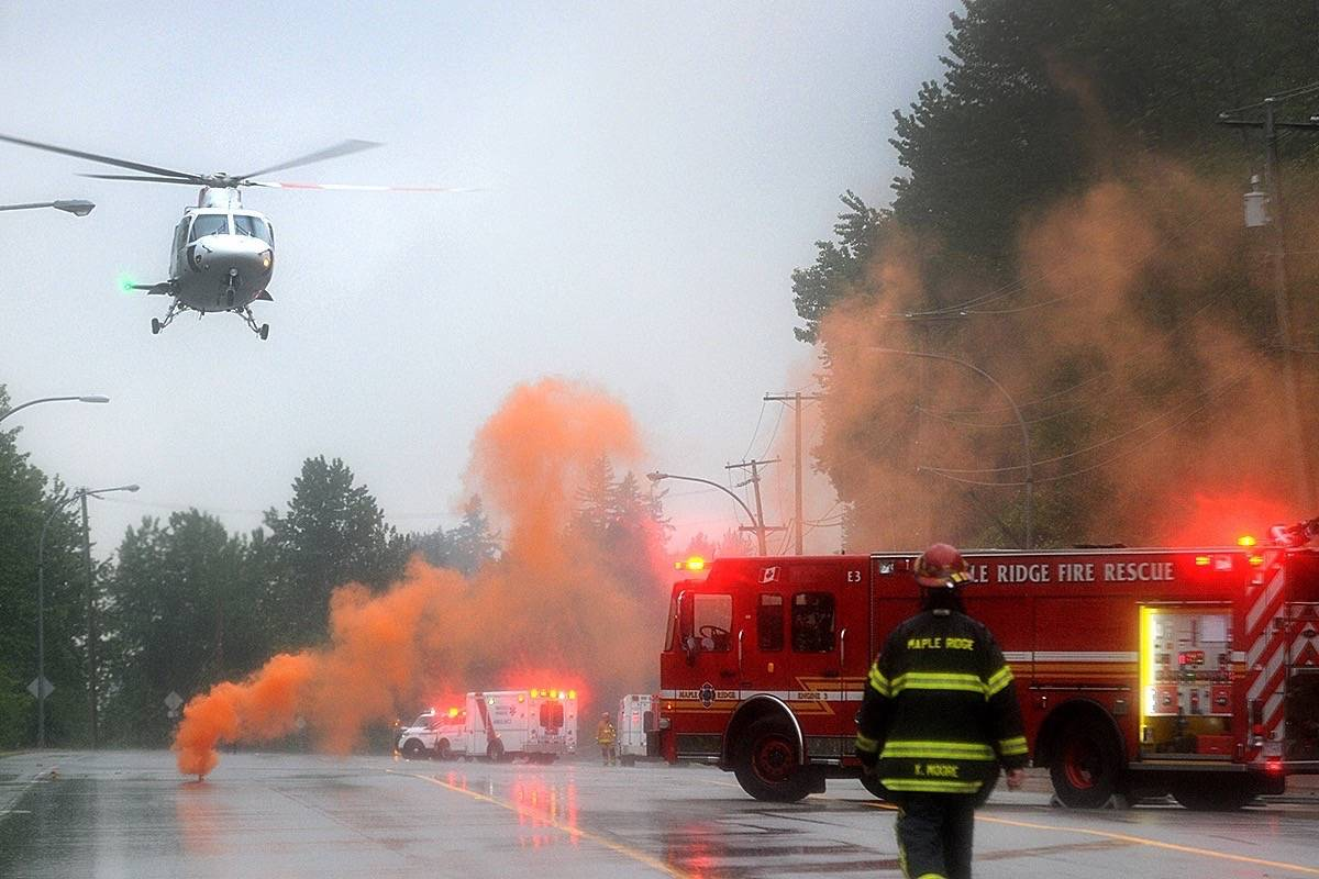 An air ambulance took a passenger to hospital. (Colleen Flanagan/THE NEWS)