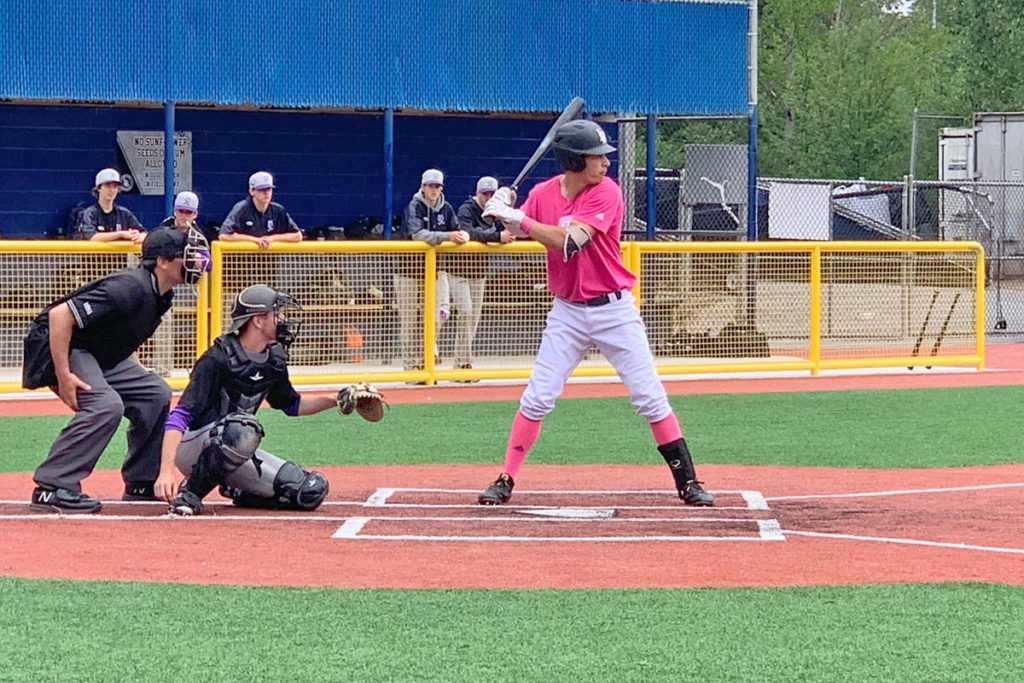 Blaze batter Ryan Beitel prepares for the pitch at the team's annual Mother's Day doubleheader. Contributed photo