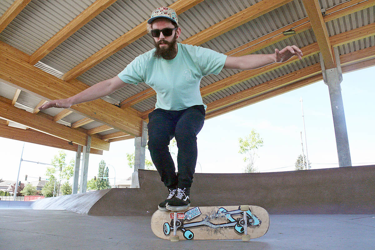 """Langley freestyle skateboarder Matt Phillips demonstrates a """"butter flip,"""" part of the freestyle routine he will be performing at the world championships in Cloverdale. Dan Ferguson Langley Advance Times"""