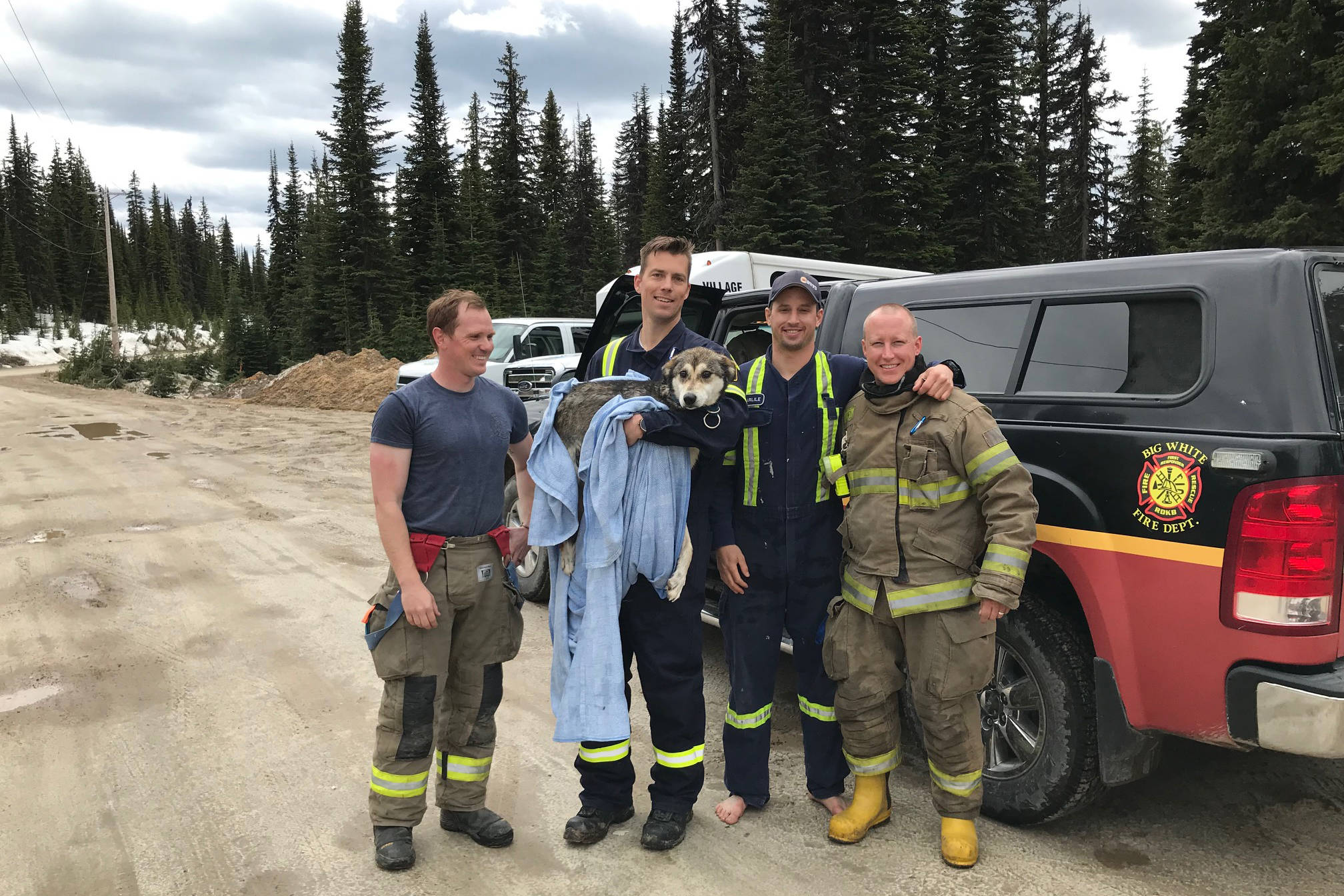 Big White Firefighters rescued the dog stuck in the ice Monday afternoon. Photo: Big White Ski Resort