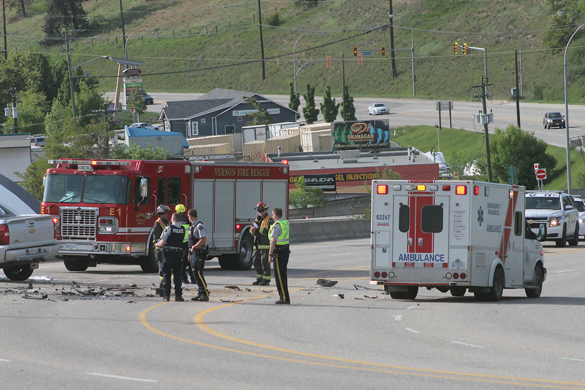 Emergency crews and investigators were on scene for five hours following a fatal crash Sunday evening on Highway 6 near Pottery Road. (Roger Knox - Morning Star)