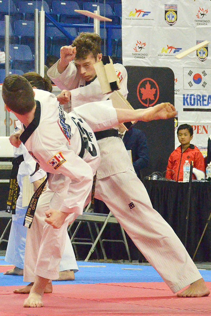 A board breaking demonstration at the BC Korean Consul General Cup Tournament and Taekwondo Festival at the Langley events Centre. Photo by Gary Ahuja/Langley Events Centre
