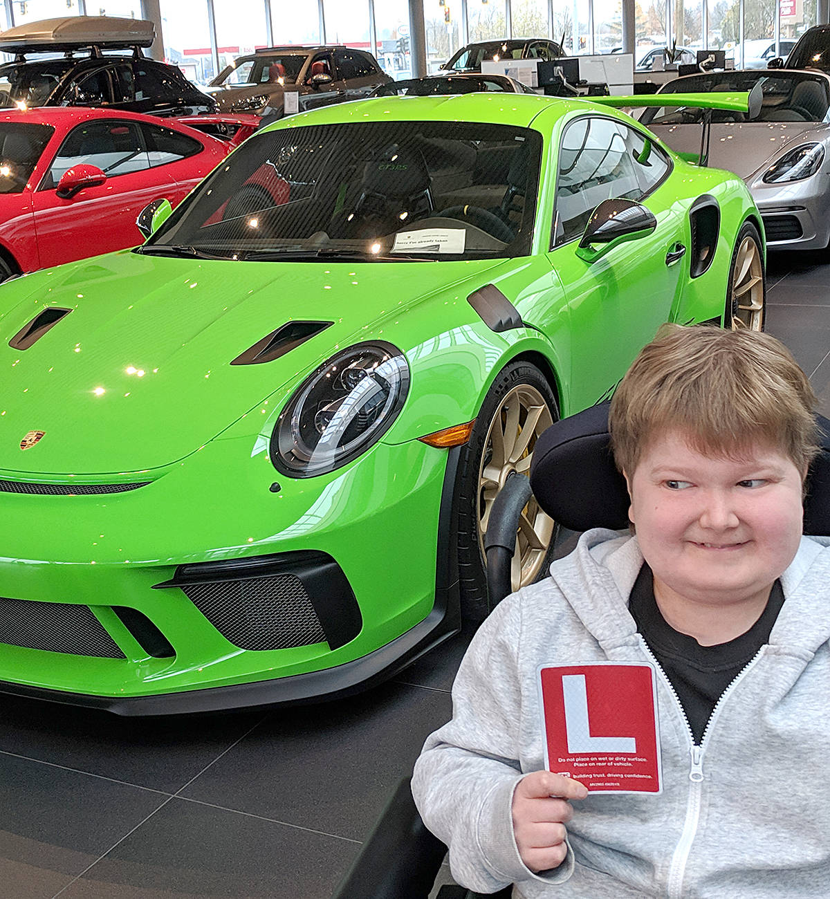 Doug Penner now has his learners, but can't get behind the wheel until he can be trained and tested in an adapted and accessible vehicle. He'd love if that could be a sports car – although it's unclear yet if that will be practical. (Cam Penner photo)