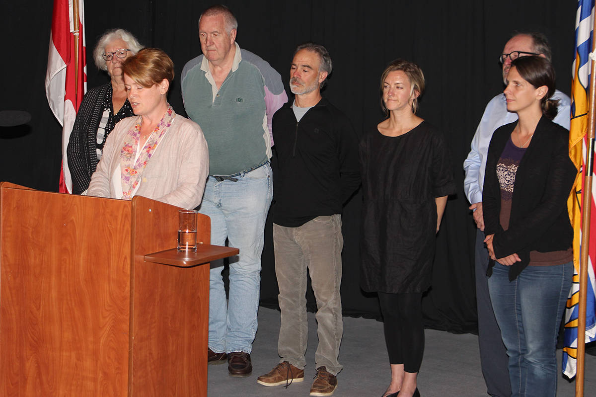 Tofino mayor Josie Osborne and her council offered an emotional apology inside the Clayoquot Sound Community Theatre on Tuesday. (Photo - Andrew Bailey)