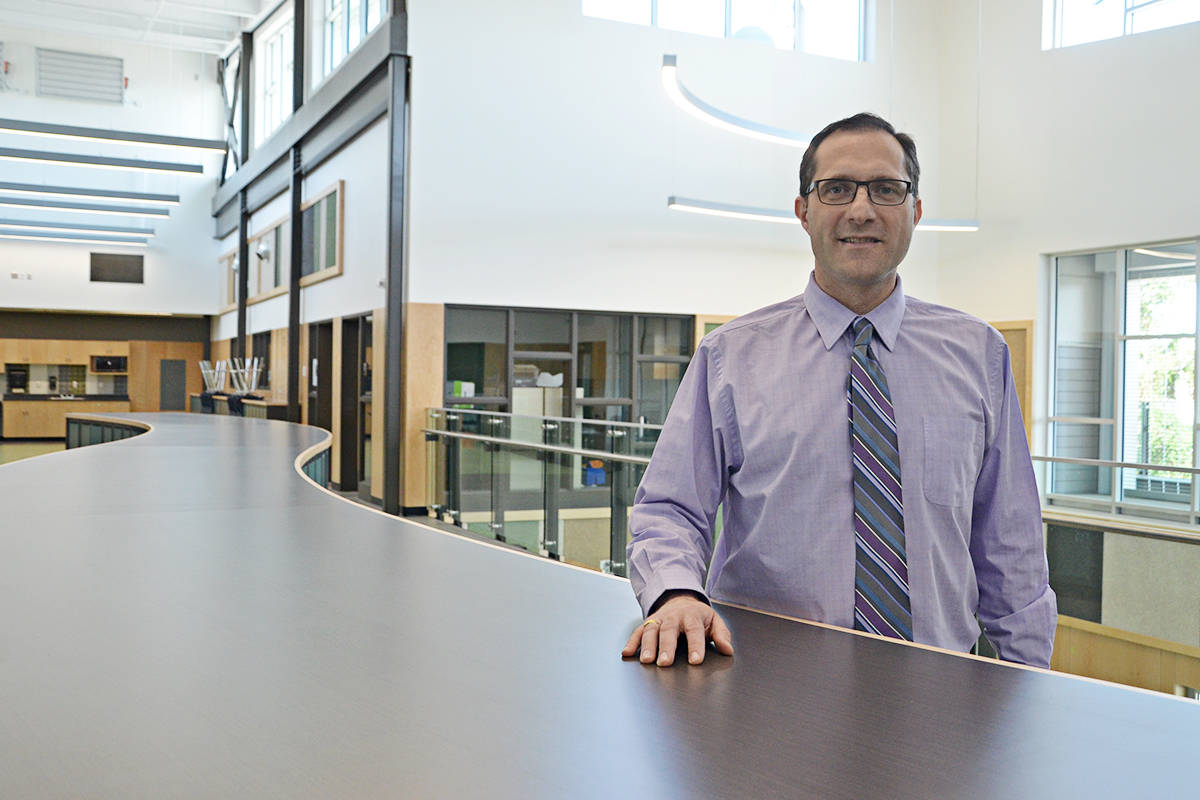 Principal Marcello Moino in the new hallway of LSS. (Matthew Claxton/Langley Advance Times)