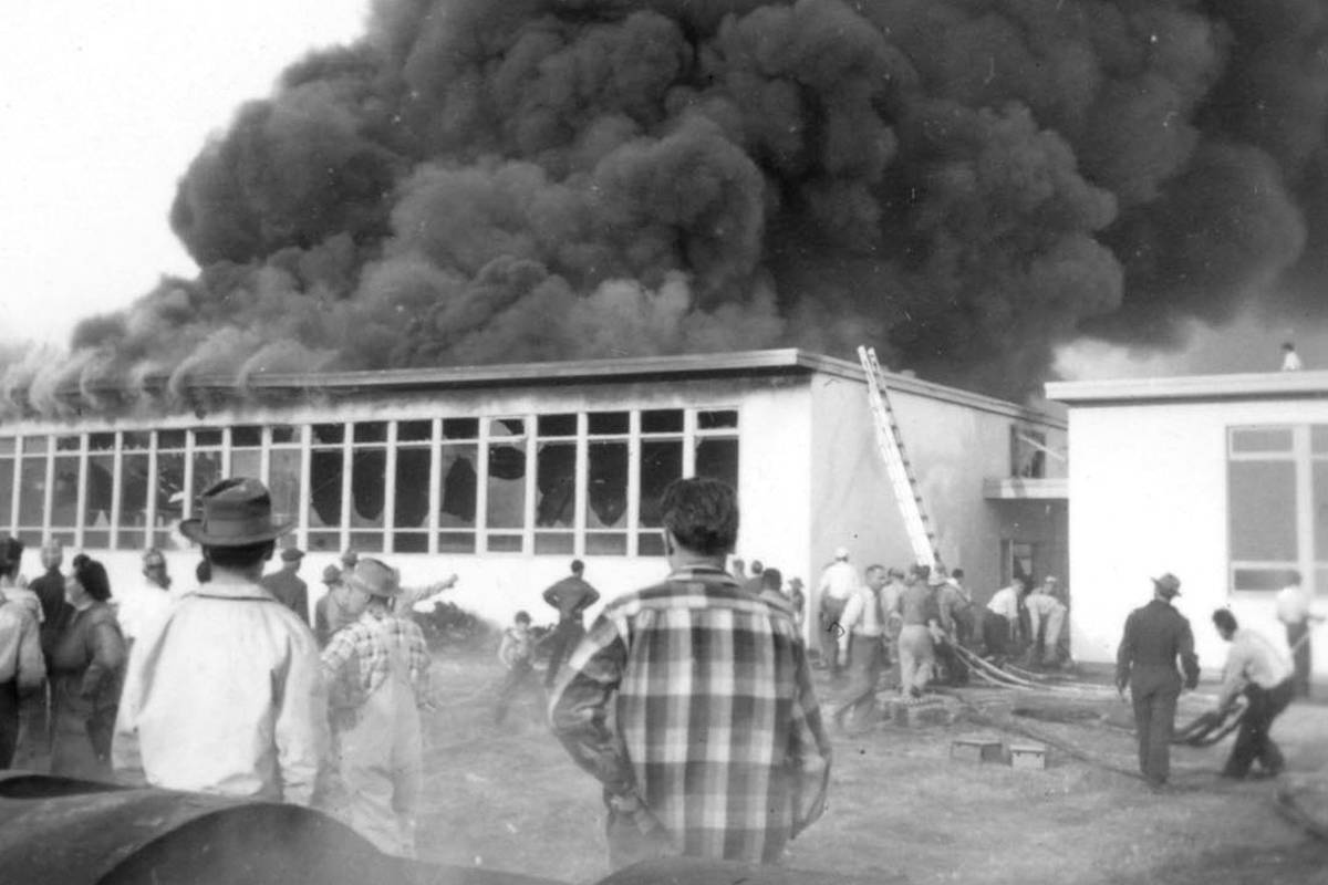 Fire hit the Langley Secondary School's industrial education wing on April 30, 1951. (Langley Centennial Museum archives)