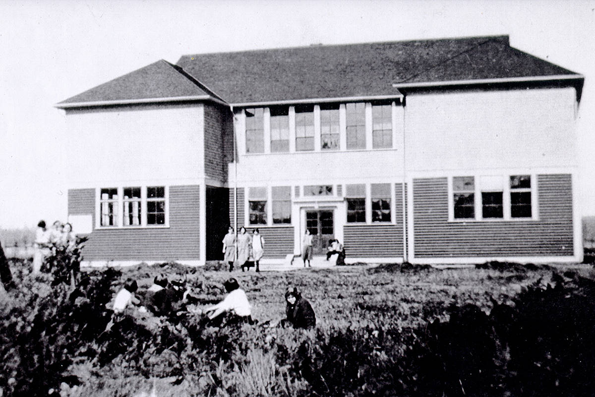 The new Langley High School (later Langley Central School) in 1924. (Langley Centennial Museum archives)