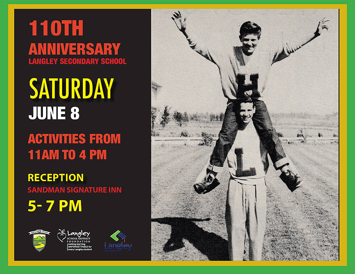 Langley High School became Langley Secondary and moved to its current site in 1949, and has survived everything from a major fire to the decidedly swampy local conditions. Now, with a massive rebuild in the works, the school is celebrating its 110th anniversary with a celebration this Saturday.