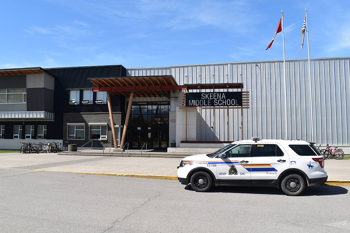 Terrace RCMP squadron cars monitored Skeena Middle School grounds after threats were made last May. (Brittany Gervais photo)