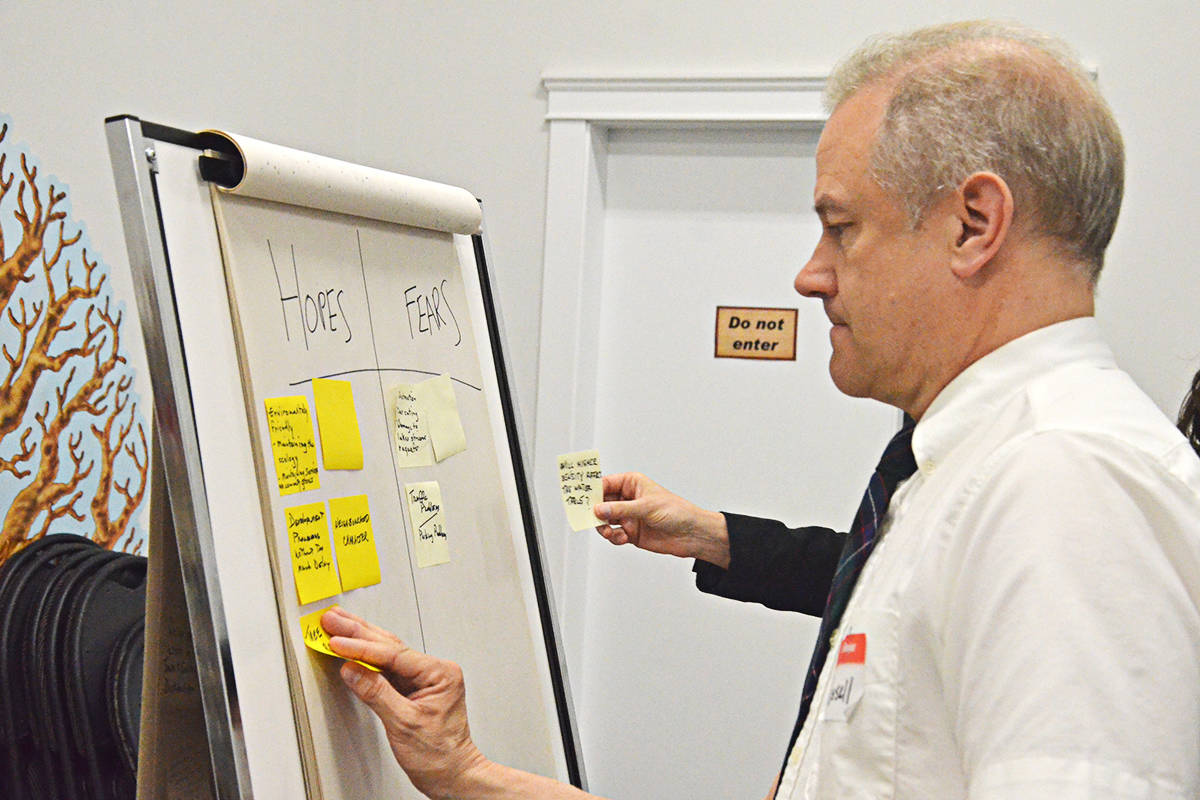 Senior planning Russell Nelson put up some of the comments from South Brookswood residents at a neighbourhood planning meeting on Thursday. (Matthew Claxton/Langley Advance Times)