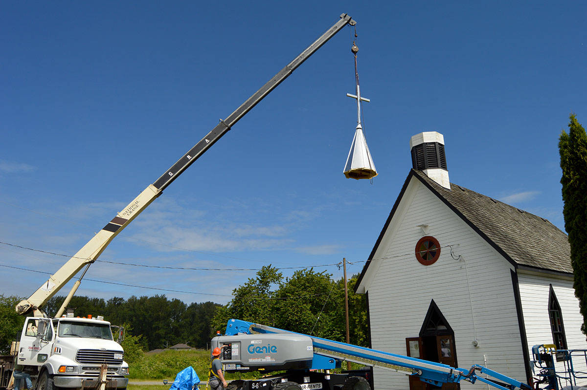 Heritage Restorations gives 122-year-old Church of the Redeemer new steeple. (Ryan Uytdewilligen/Langley Advance Times).