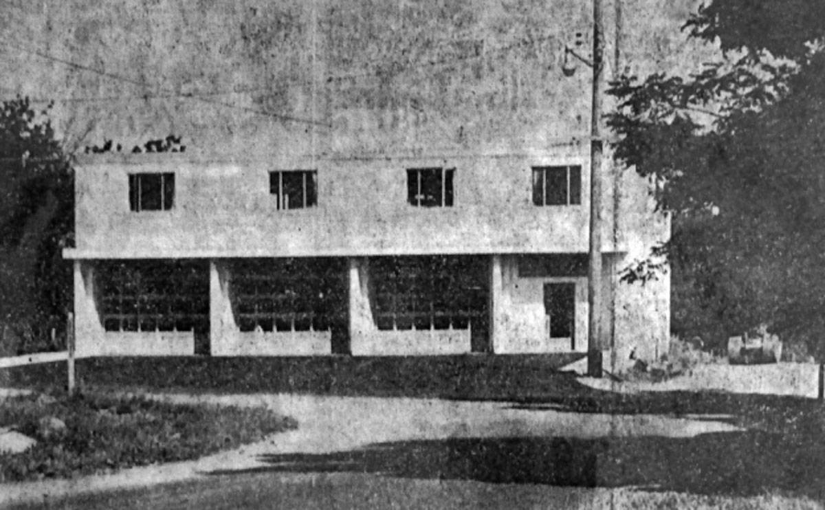 The firehall, built in 1958, was a collaborative effort of the Aldergrove community for volunteer firefighters.