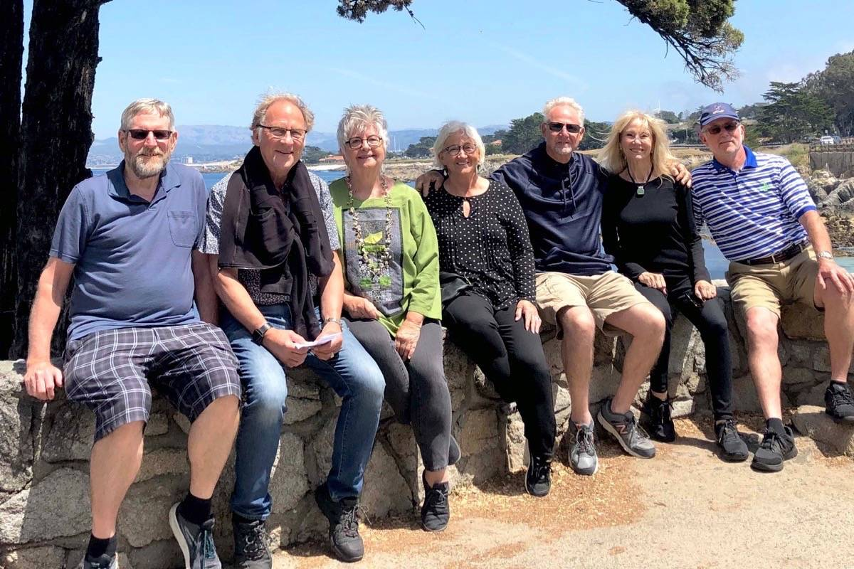 A group of Canadian and Americans, including Dave Tryon, left, who was found through social media, are back together for a reunion in California after backpacking Europe in 1969. - Submitted photo