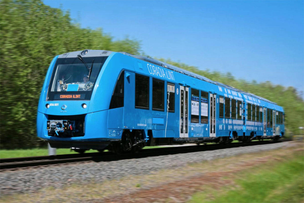 """An Alstom """"Coradia iLint"""" train, touted by the company as the """"world's first hydrogen powered train."""" It's an example of what 'Rally for Rail' proponents want to see used along the existing Interurban line from Surrey to Chilliwack. (Photo: Alstom)"""