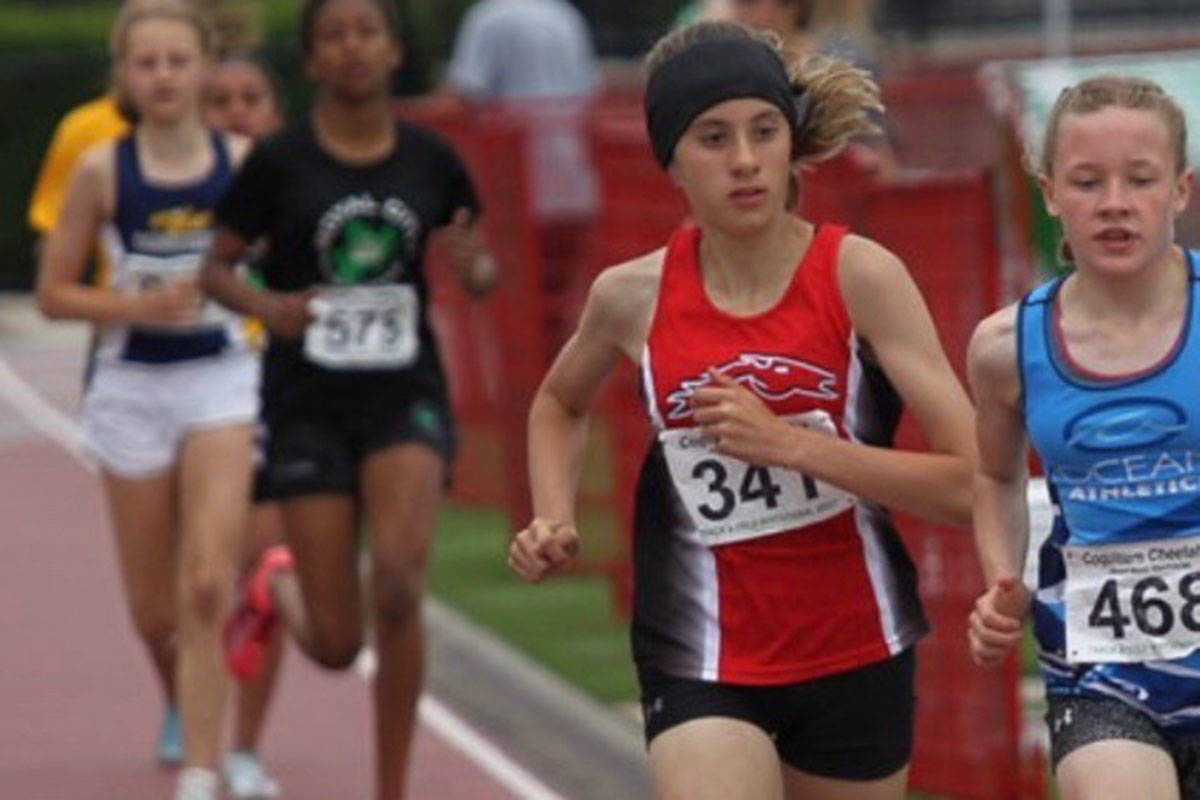 Langley Mustang Maiya Bruno earned gold medals for the 200m hurdles and 800m race at the 2019 Annual Jesse Bent Memorial Meet. (Jacqueline Johnson/Special to the Langley Times)