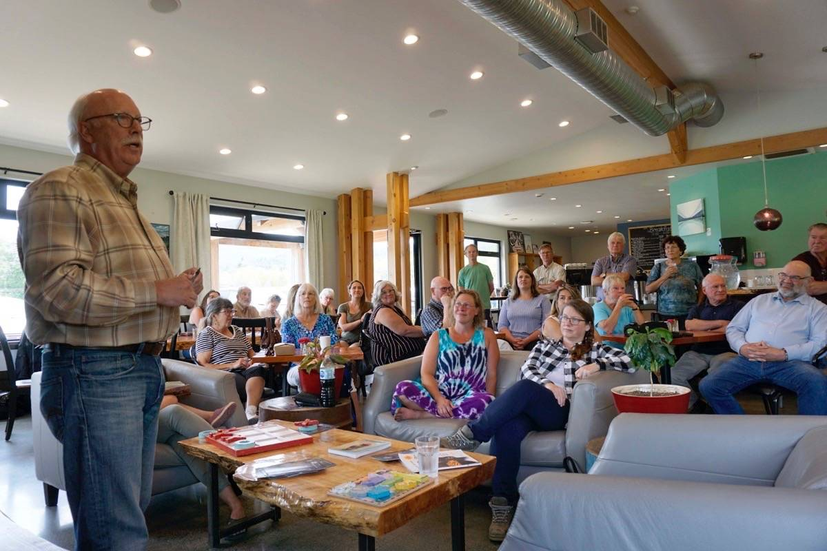 Ian Paton, MLA for Delta South and co-critic for agriculture, speaks to a group of concerned farmers at Rusted Rake Farm in Nanoose Bay on June 17. - Karly Blats photo