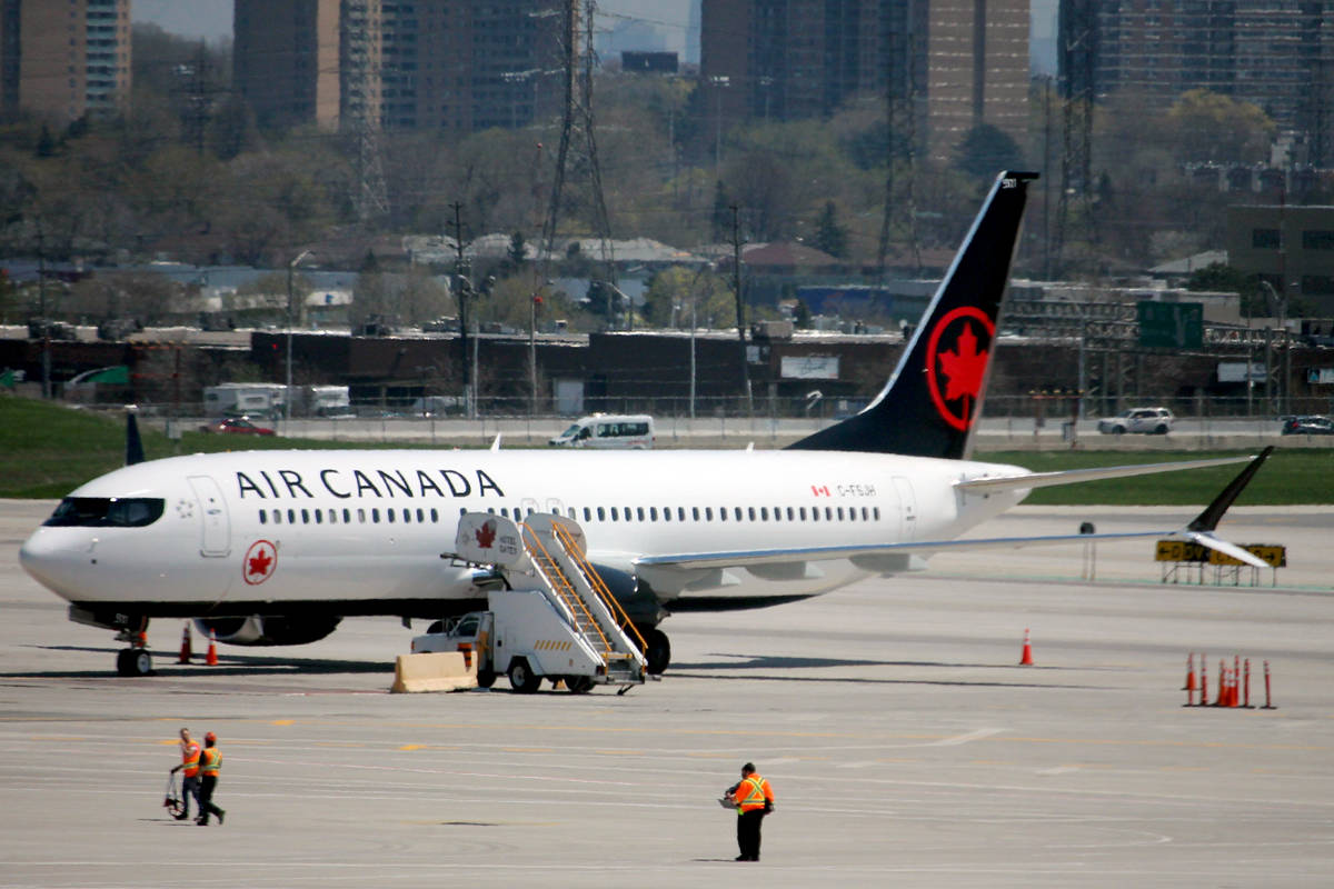 An Air Canada Boeing 737 Max 8 parked at Toronto's Pearson International Airport in May 2018. The federal government grounded all Boeing 737 Max 8 and Max 9 aircraft indefinitely in March due to safety concerns. Air Canada is optimistic the 737 Max will be in the skies by September or October. (Nicholas Pescod/News Bulletin)
