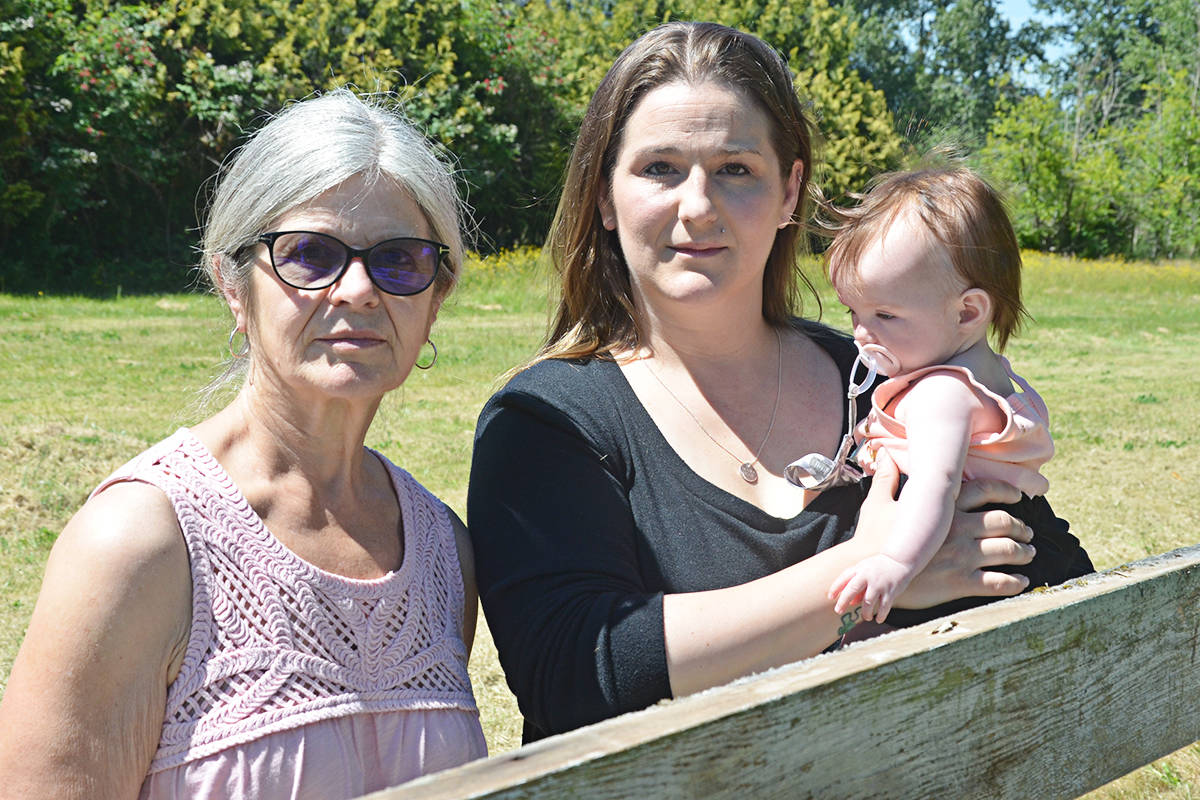 Cathy Ficther, her daughter Alanah Fuduric, and Charlie, five months old. (Matthew Claxton/Langley Advance Times)