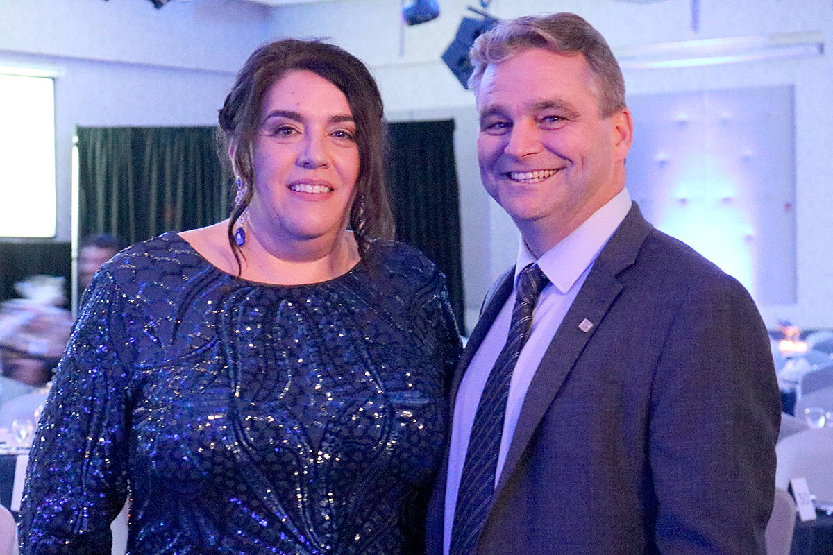Greater Langley Chamber of Commerce president Jack Nicholson (right) announced this week that Colleen Clark, the former executive director, now has a new title. She's CEO. (Langley Advance Times files)