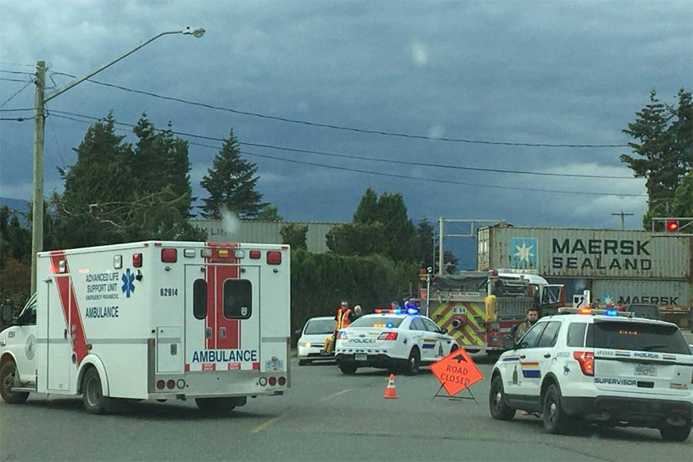 The scene at the rail crossing on Broadway Avenue in Chilliwack on May 26, 2018 after a man in a wheelchair stuck on the tracks was killed. (D. Todd Jerome photo)