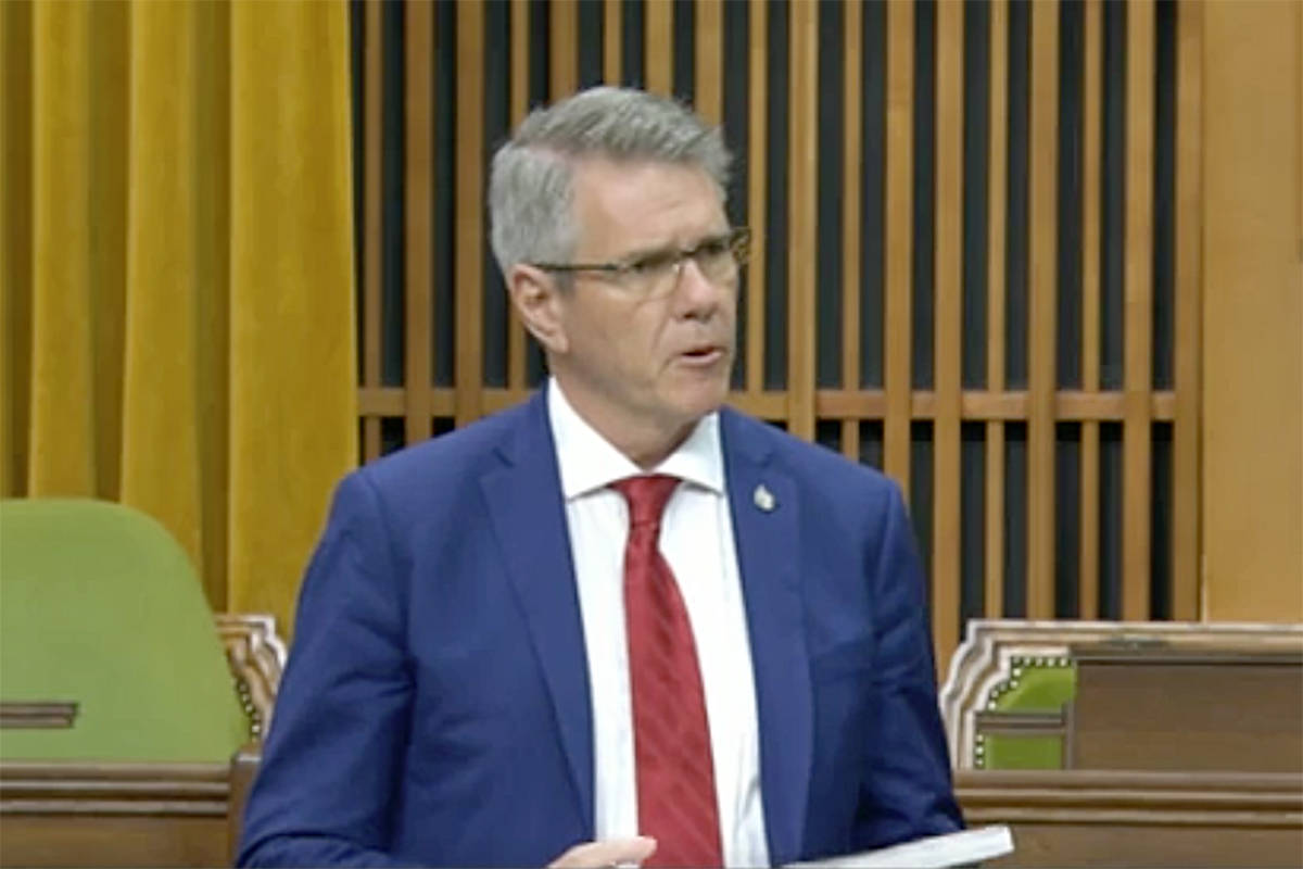"""Cloverdale-Langley City MP John Aldag tables a report on plastic pollution in the House of Commons. """"The Last Straw: Turning the Tide on Plastic Pollution in Canada"""" contains 21 recommendations for the federal government. (Hansard TV)"""