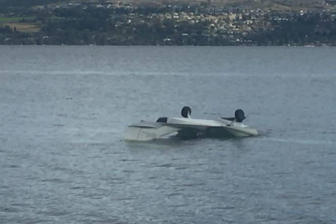 A small plane has overturned in the Okanagan Lake and two were taken to hospital. (Laryn Gilmour - Kelowna Capital News)