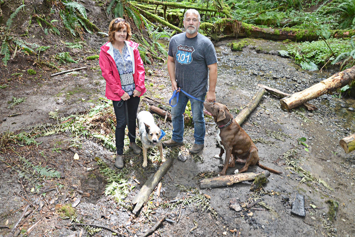 Jill and Patrick Spavor came upon the fire pit and camp site while walking their dogs. (Matthew Claxton/Langley Advance Times)