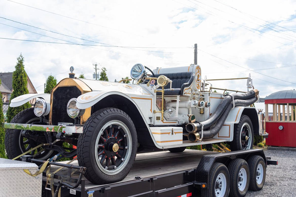 A vintage fire truck on display at the 2019 Canada Day event hosted by Surrey's Heritage Rail. The Fraser Valley Heritage Railway Society honoured the efforts of first responders this year, specifically those of Cloverdale's Fire Hall No. 8. (Courtesy of the Fraser Valley Heritage Railway Society)