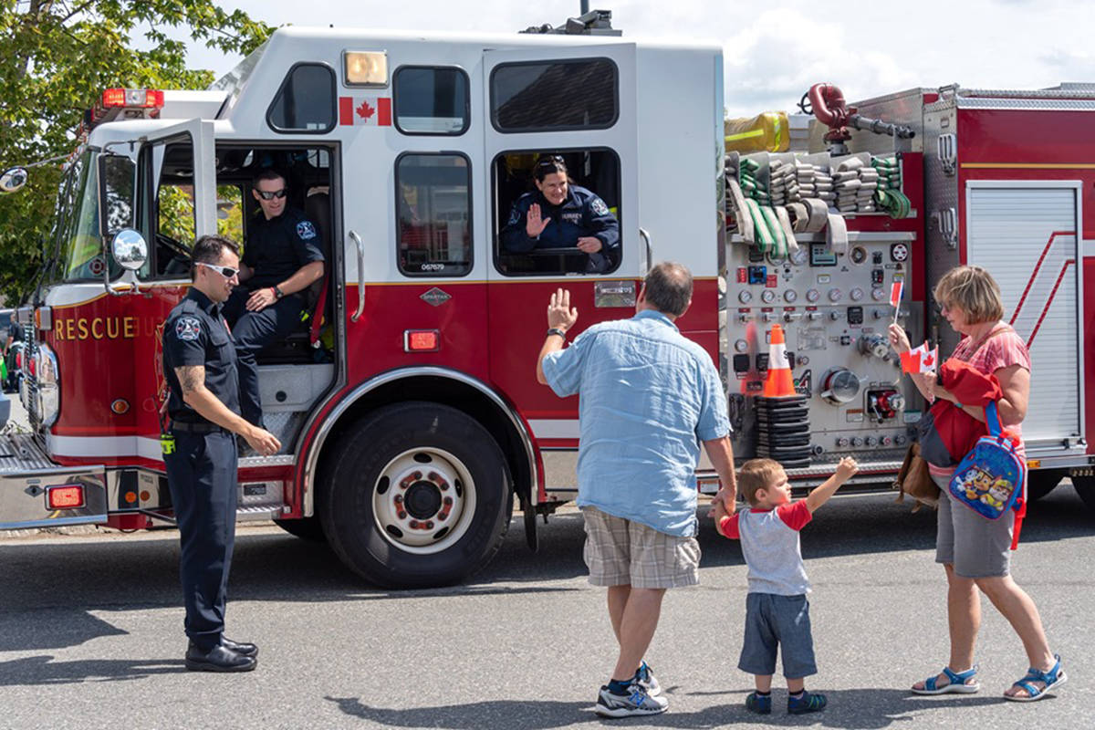 Cloverdale's Fire Hall No. 8 was honoured at Surrey's Heritage Rail's Canada Day event this year. Surrey fire fighters attended the event and greeted community members. (Courtesy of the Fraser Valley Heritage Railway Society)