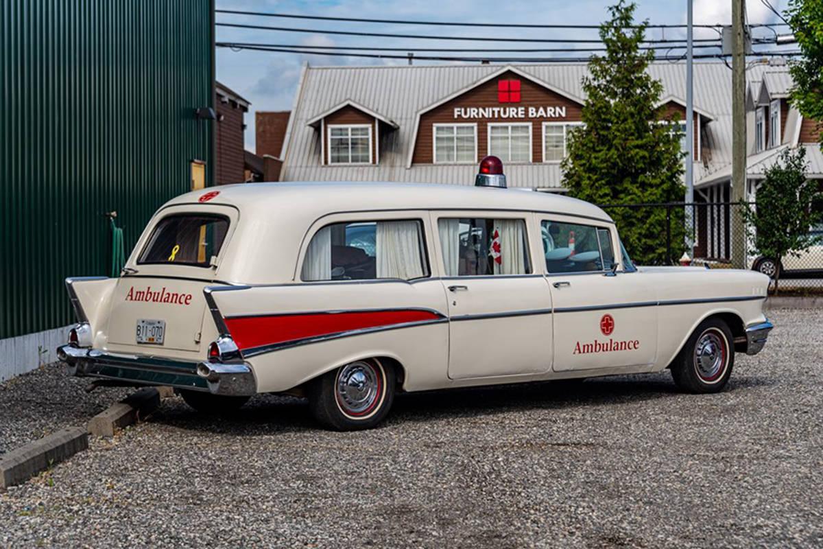 A vintage ambulance on display at the Saturday event. (Courtesy of the Fraser Valley Heritage Railway Society)