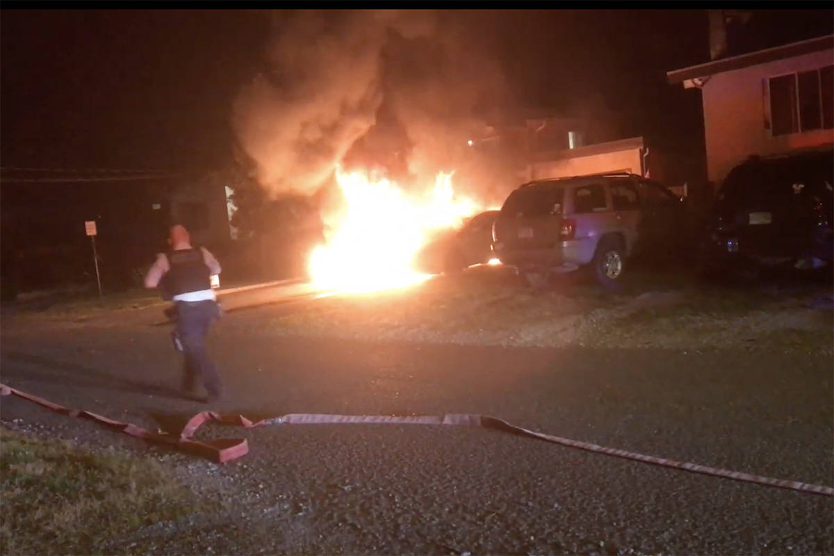 VIDEO: Suspected arson in Canada day vehicle fires downtown Chilliwack