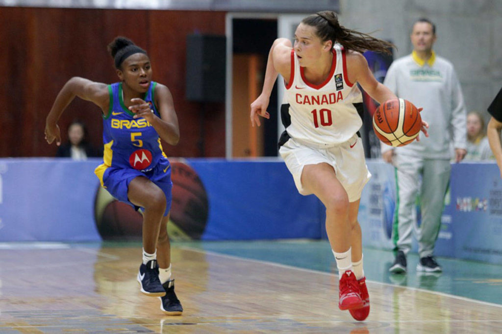 Canadian Women's U16 player Isabelle Forsyth dribbles the ball at the FIBA Women's Americas Championship 2019 in Aysen, Chile. (Linda Forsyth/Special to the Langley Advance Times)