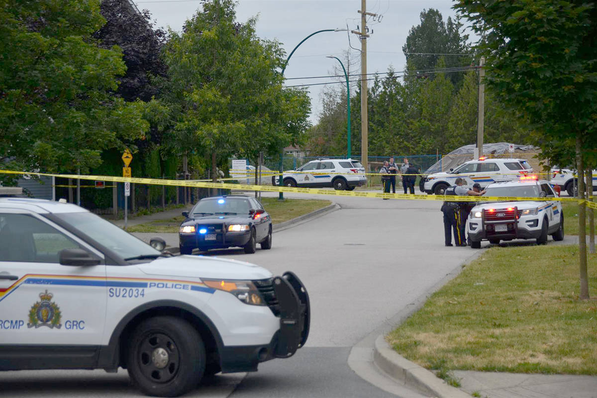 Surrey RCMP vehicles respond to an incident in Clayton Heights. (Curtis Kreklau / South Fraser News Services)