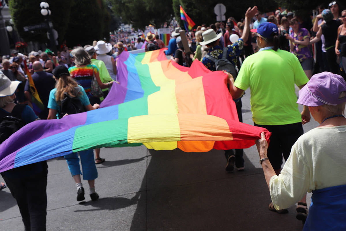 A community consultation on the role of police in the Victoria Pride Parade received feedback from more than 500 people, and led to the decision to ban uniformed police officers from participating. (Black Press Media file photo)