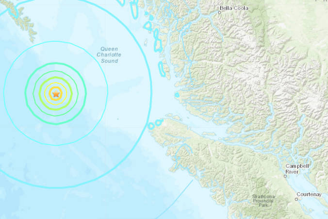 Site of the 5.8M earthquake off northern Vancouver Island Wednesday night. Screenshot/U.S. Geological Survey