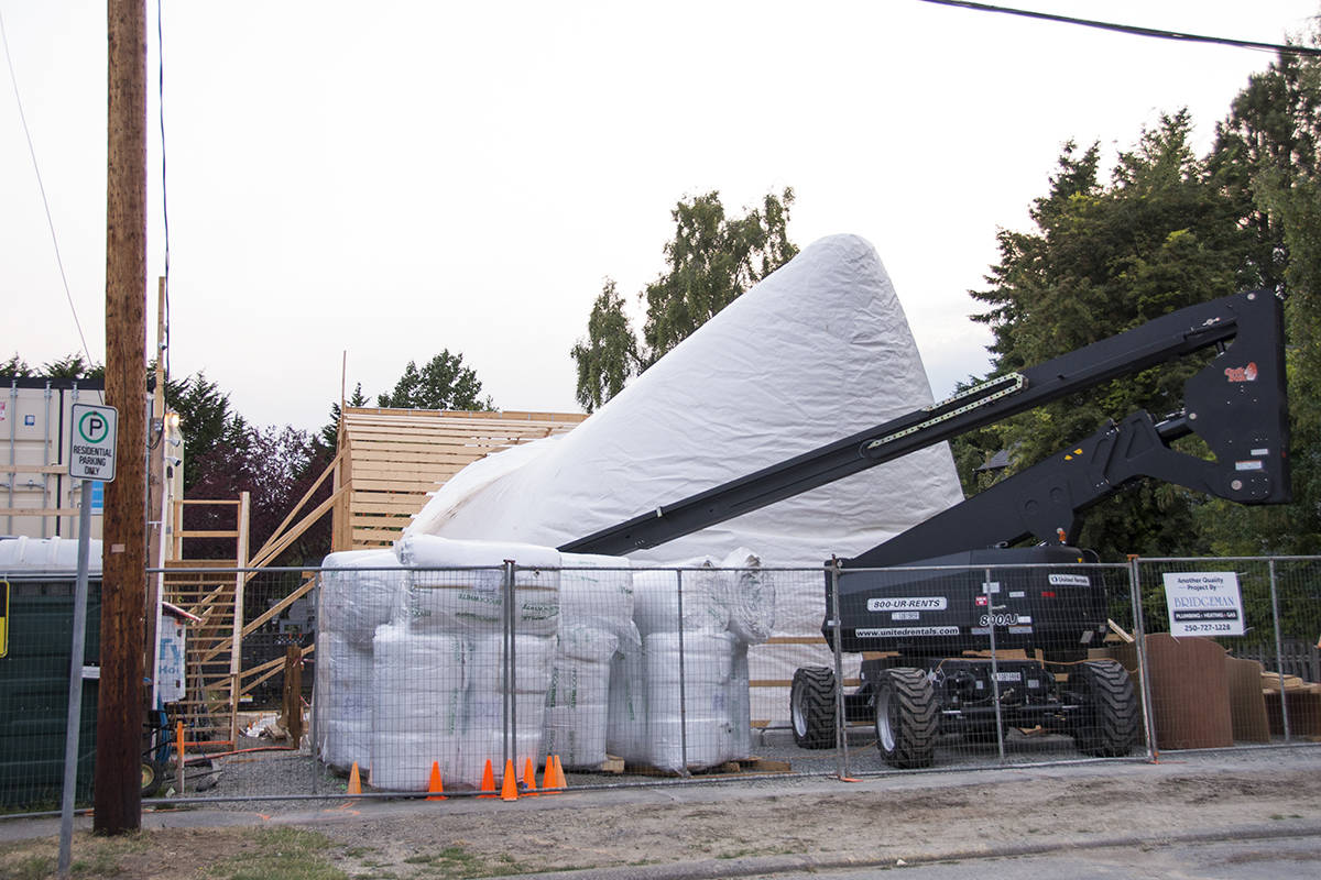 A Binishell house under construction in Esquimalt is the first of its kind in Canada. (Nina Grossman/News Staff)