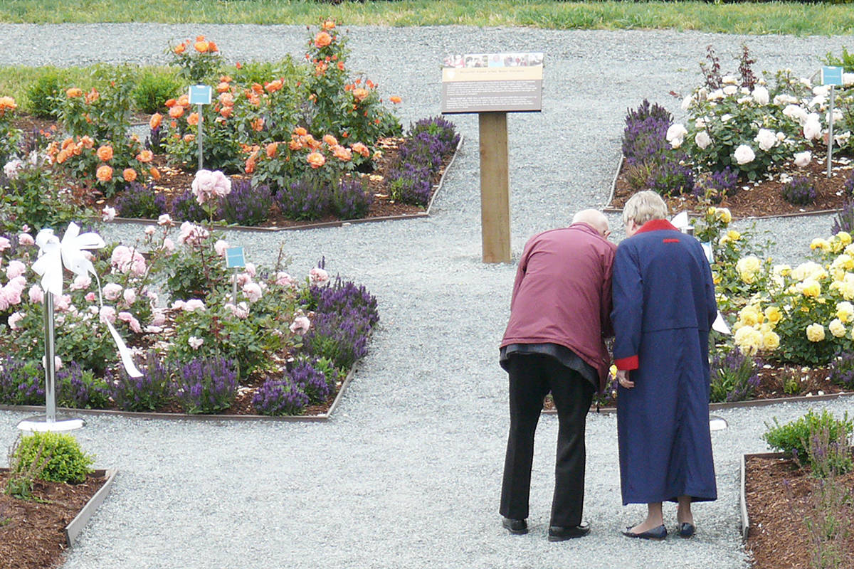 Visitors looked over the colourful flowers, planted in the shape of the Rotary Wheel, at the Beverly Anne Clay garden at Derek Doubleday Arboretum. Dan Ferguson Langley Advance Times