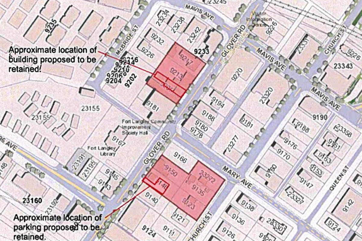 A Township of Langley memo showed the sites where some buildings could be demolished in downtown Fort Langley.