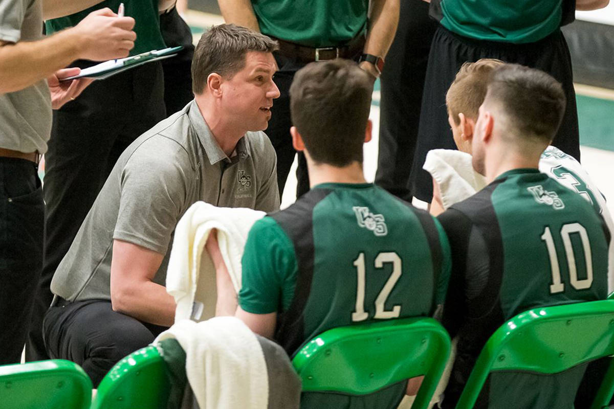 Nathan Bennett, shown here coaching the Saskatchewan Huskies last season, is the new head coach for the UFV Cascades men's volleyball team.