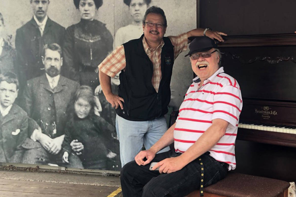 "Councillor Bob Long and ""Baron Boogie"" Norbert Marten rescued a piano for music enthusiasts to tinkle in Fort Langley (Karen Zukas/Special to the Langley Advance Times)"