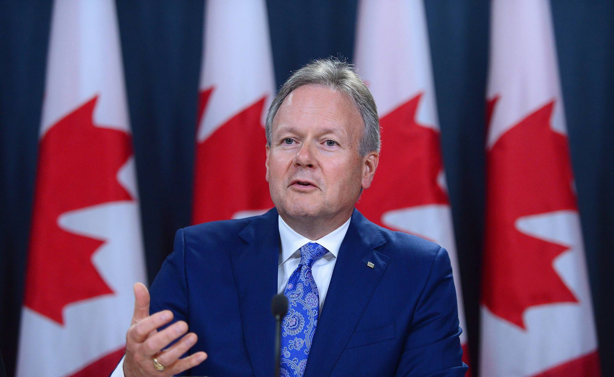 Stephen Poloz, Governor of the Bank of Canada, holds a press conference at the National Press Theatre in Ottawa on Wednesday, June 8, 2017. With the Bank of Canada nearing its next policy decision, governor Stephen Poloz is reiterating his message that his 2015 interest-rate cuts appear to have done their job. THE CANADIAN PRESS/Sean Kilpatrick