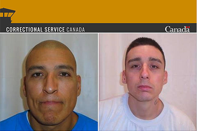 James Lee Busch and Zachary Armitage are back in police custody after they escaped from William Head institution on Sunday. (Correctional Service of Canada/Facebook)