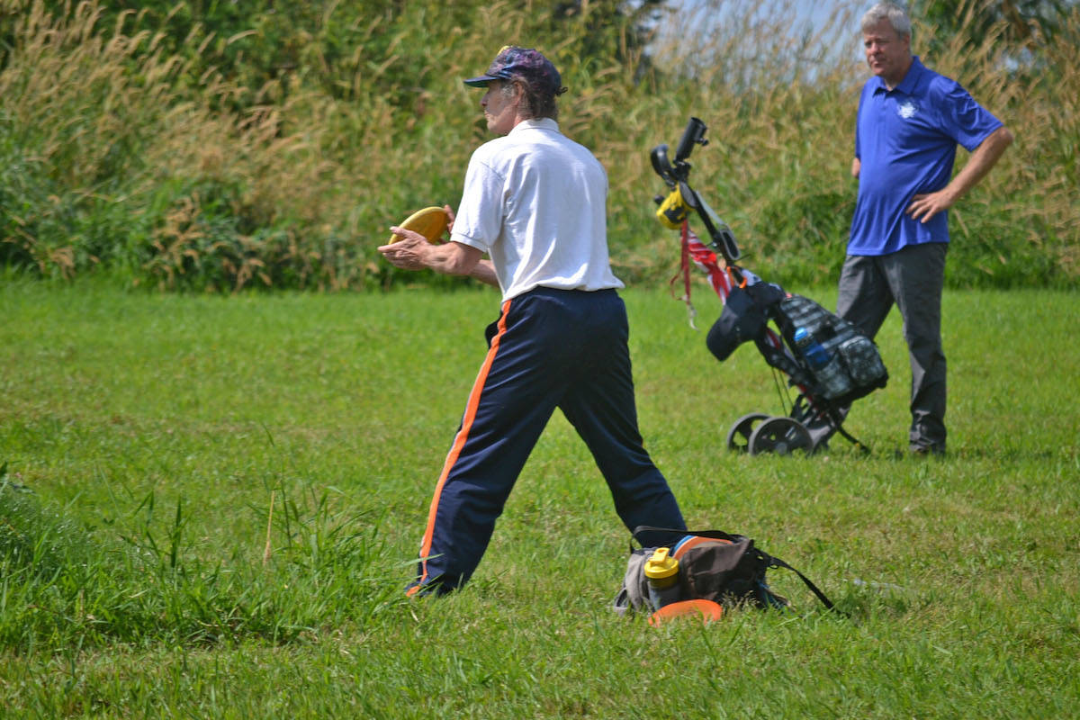 Glen Whitlock – a 63-year-old pioneer of disc golf since the early days of the sport in 1979 - faced off in the grand masters division, finishing with a third place score. (Sarah Grochowski photo)