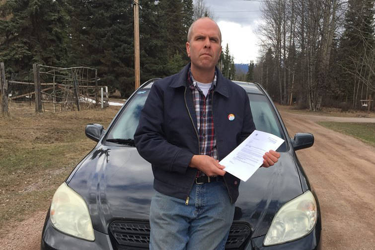 Darcy Repen pictured with his FOI response from ICBC. (Submitted photo)